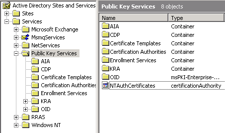 Terry lus blog decommission a windows enterprise certification select public key services locate the ntauthcertificates object yelopaper Images