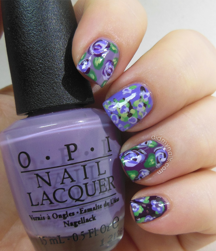 ombre purple flower nails