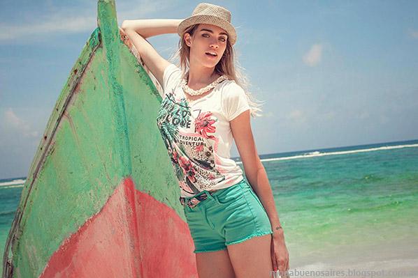 Remeras y shorts, moda en ropa de mujer marca Sweet. Moda verano 2015.