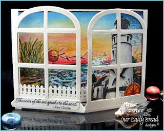 "ODBD Exclusive Spellbinders ""Windows"" Die Set, ""The Mighty Sea"", ""Keep My Lamp Burning"" Designer Julie Warner"