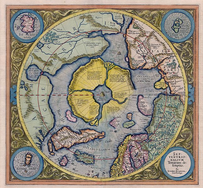Mercator: Septentrionalium Terrarum descriptio. A map of the North Pole.