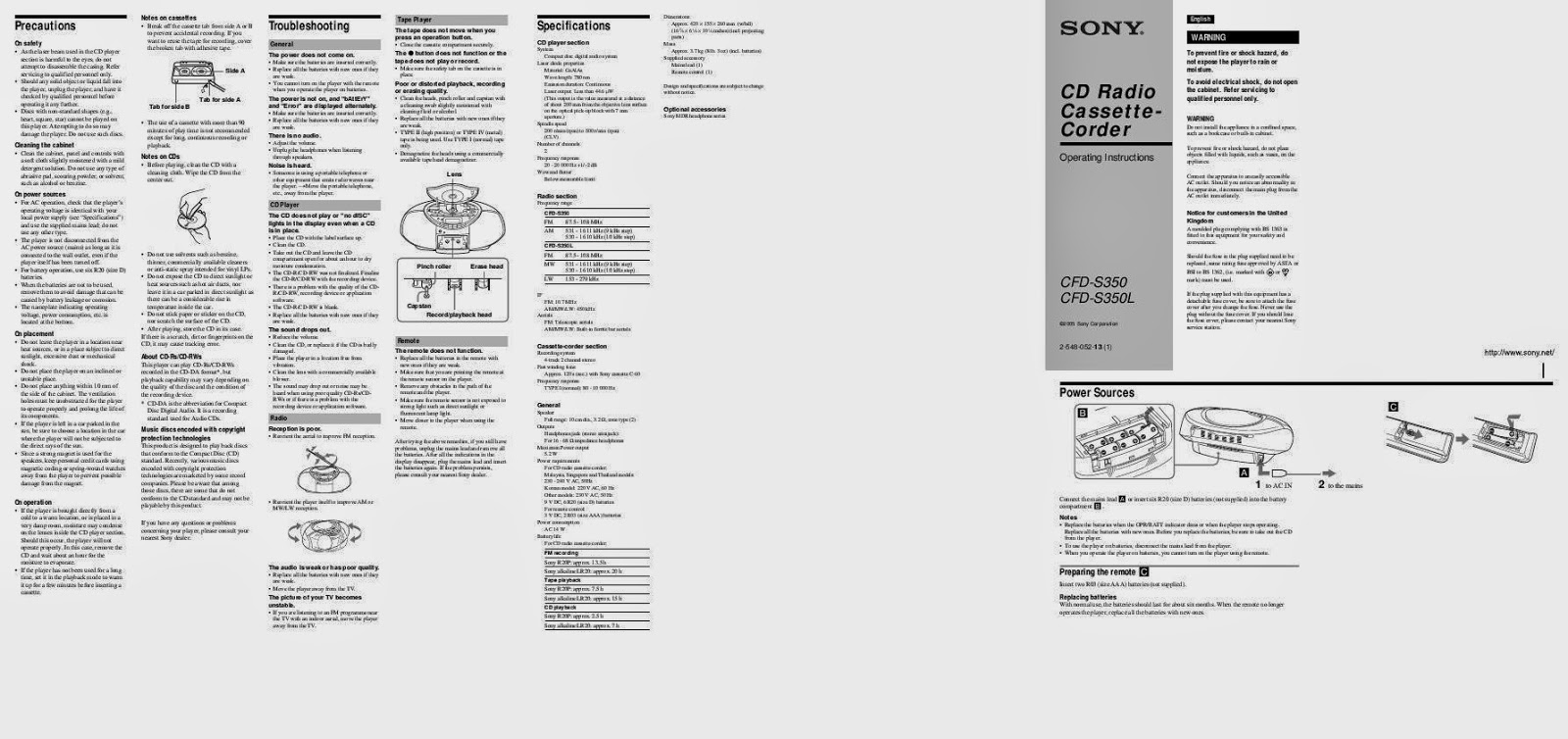SONY CFD S350 MANUAL