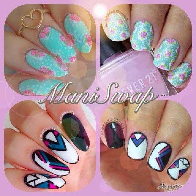 Magically Polished  Nail Art Blog : Mani Swap: Free Style Nails