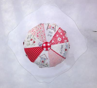 Love Pinwheel Pastry pincushion, top view