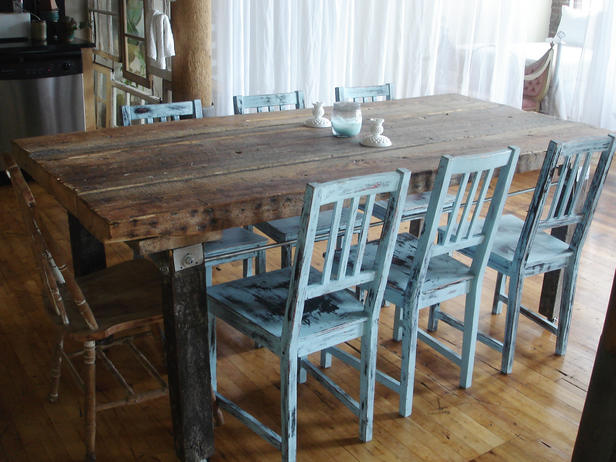 Rustic Dining Room Table with Colored Furniture
