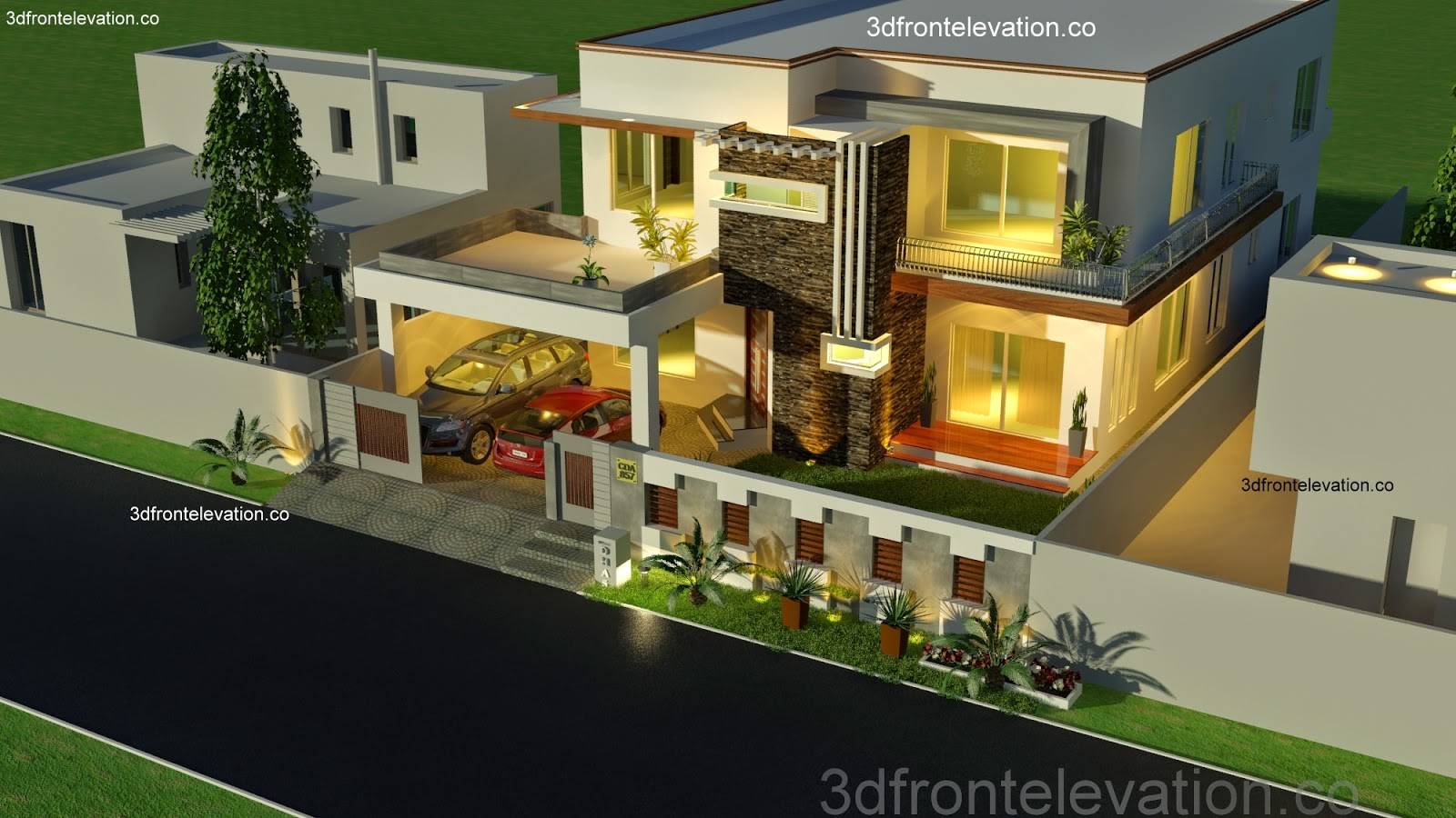 3d front 1 kanal house plan layout 50 39 x 90 for Home design ideas pakistan