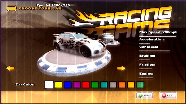 Racing Game é um dos inúmeros exemplos de starter kits disponibilizados pela comunidade
