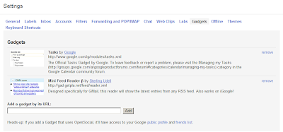 Add the RSS Feed Reader gadget to your Gmail / Google Mail