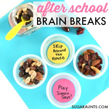 After school brain breaks and healthy snack ideas can help kids with attention, learning, and focus to homework!