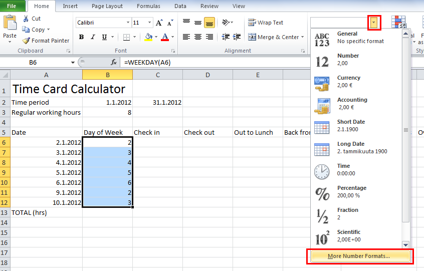how to make a time card calculator in excel