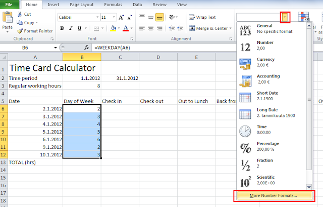 Time card calculator Excel tutorial - change formatting