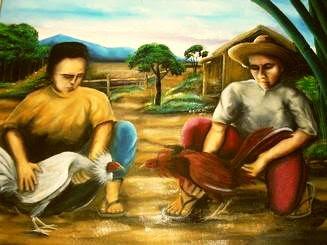 Sabong Painting Elmer Ponce Pacio Cockfight Painting Sining ng Pilipinas Painting Sabong