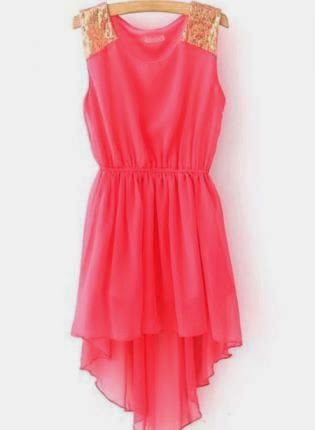 Red Sequnied Dipped Hem Chiffon Dress