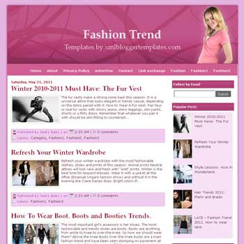 Fashion Trend blogger template. template for fashion blog