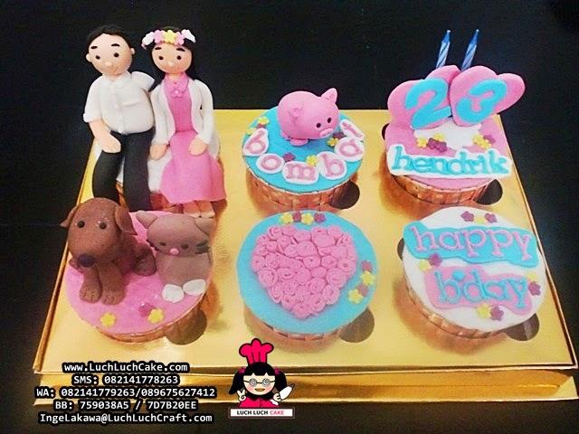 Cupcake Ulang Tahun Lucu Babi, Kucing, Anjing Daerah Surabaya - Sidoarjo
