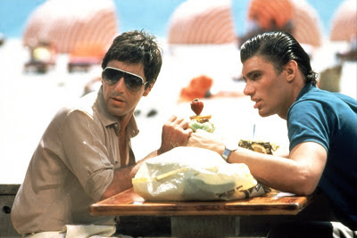 Al Pacino as Tony Montana, Steven Bauer as Manny Ribera, Scarface, Directed by  Brian De Palma