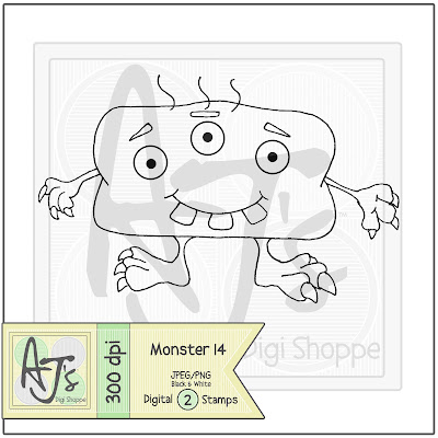 Black and White Monster 14 Digital Stamp