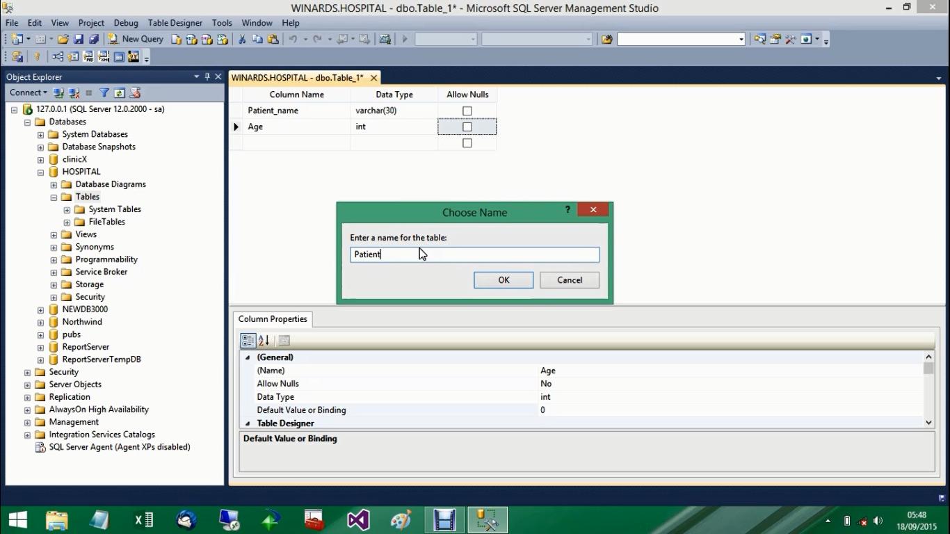 Sql server 2014 tutorial create sql server 2014 table in for Table design sql server