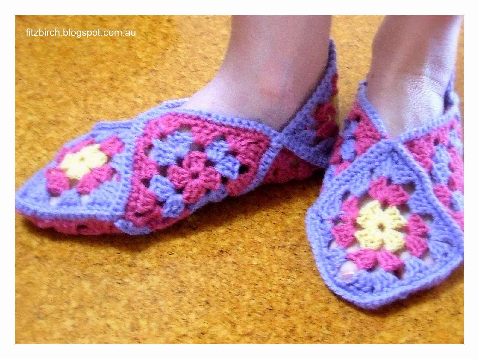 Crochet Pattern For Granny Square Slippers : FitzBirch Crafts: Granny Square Slippers