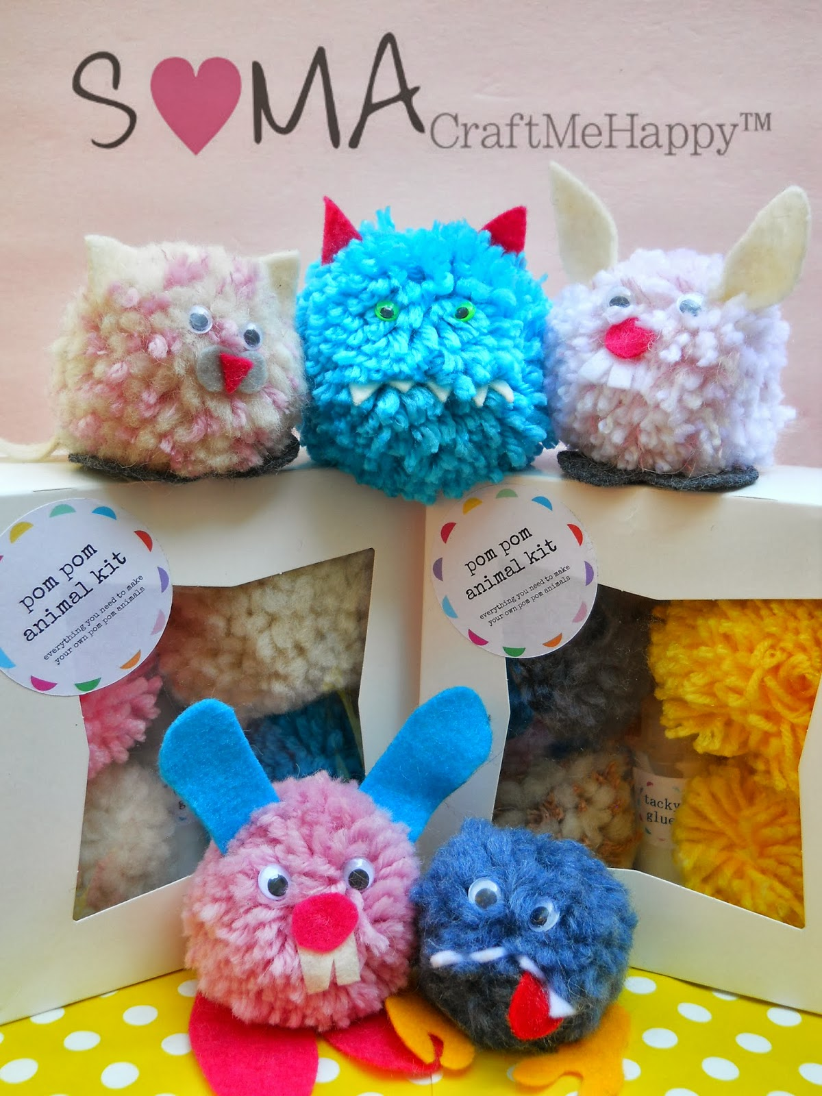 SOMA Craft Me Happy: POM POM ANIMALS AND MONSTERS Happy Easter
