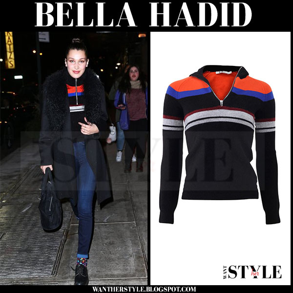 Bella Hadid in striped zip alexander wang sweater and black fur collar coat what she wore winter style