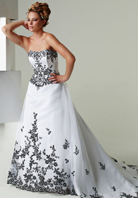 Wedding Dresses White With Black Accents - Mother Of The Bride Dresses