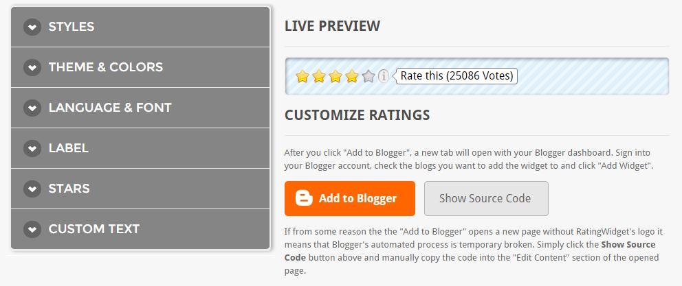 Star ratings widget in blogger | 101helper gadgets for blogger