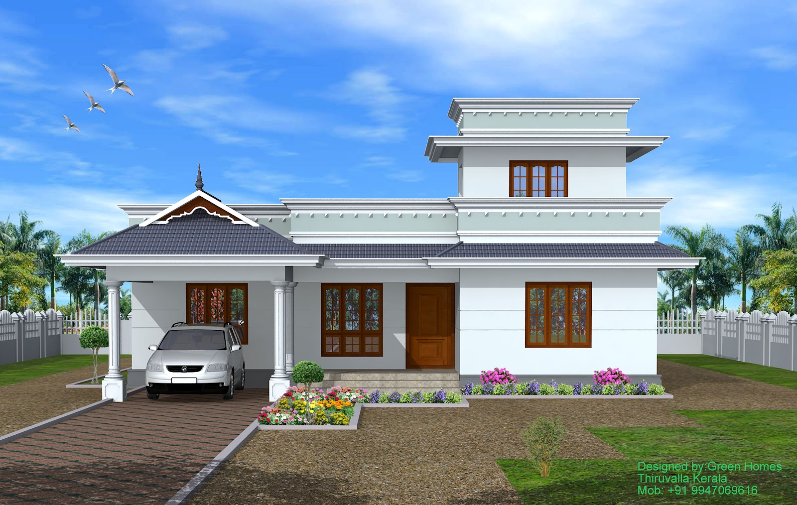 Green homes kerala 4 bhk single storey house 1950 for Single home design