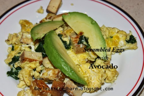 Eclectic Red Barn: Breakfast eggs with tofu, kale, Gruyere, and avocadocado