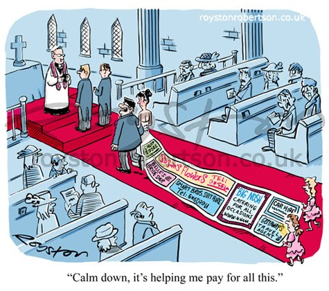 Wedding cartoon Counting the cost