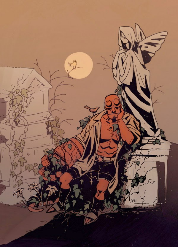 sleeping Hellboy ivy-grown at old cemetary