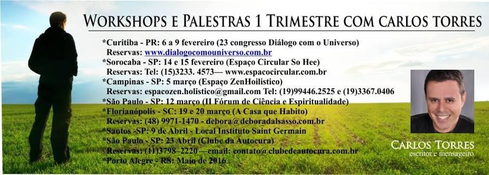 Próximos Workshops e Palestras com Carlos Torres
