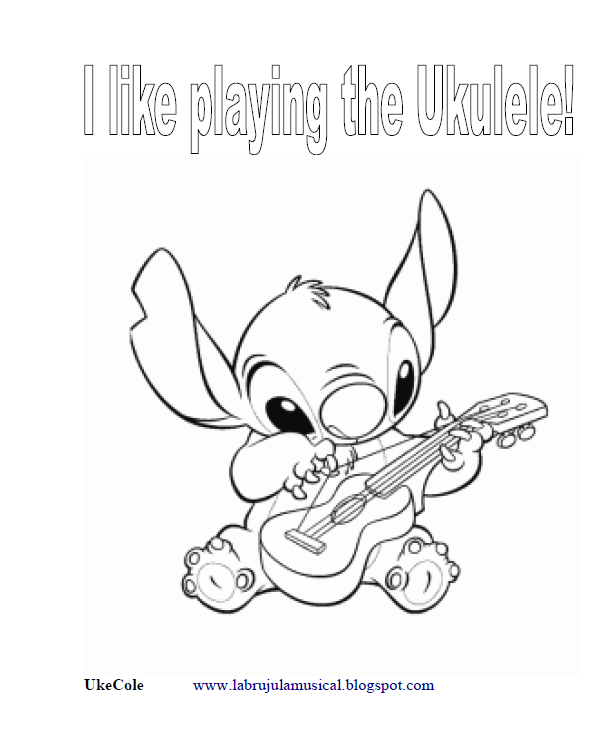 Stich tocando el ukelele para colorear. Stich playing the ukulele for drawing. printable pictures for kids  coloring activities for kids  coloring pictures for kids