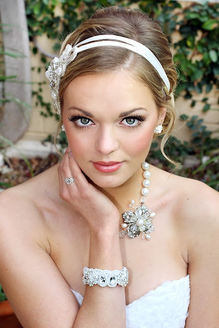 """Ariel Wedding Headband & Bracelet""- Lace Hair accessory with wedding necklace"