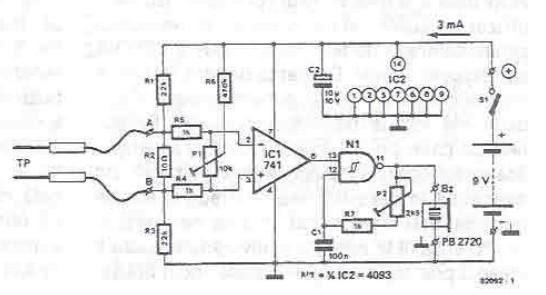 schema de circuit de testeur de continuit u00e9  u00e9lectroniques  u00e0