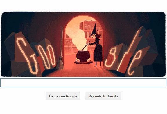 La strega di halloween nel doodle 2014