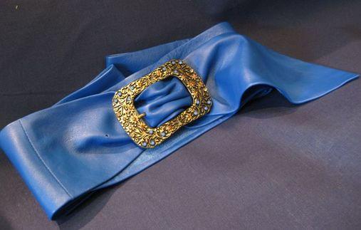 Cintura a fusciacca in nappa blu
