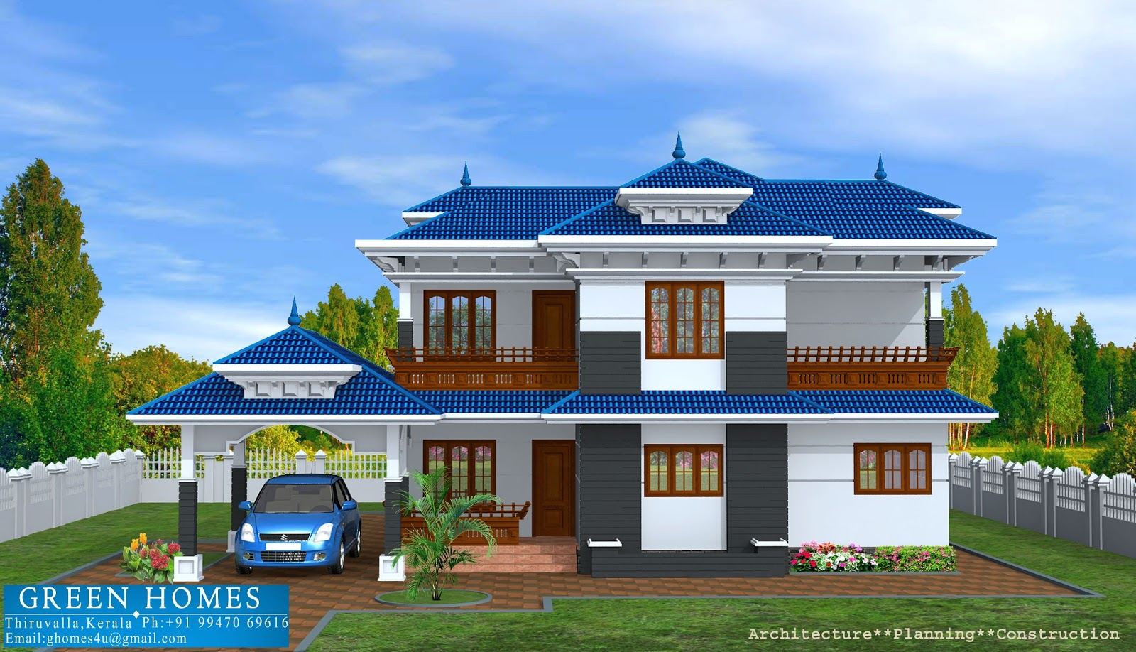 Green homes kerala model home in 2400 sq feet for Home models in kerala