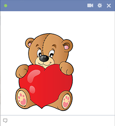 Teddy bear icon with big heart