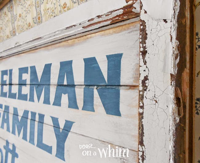 Chippy White Window Framing a New Cottage Sign  | Denise on a Whim
