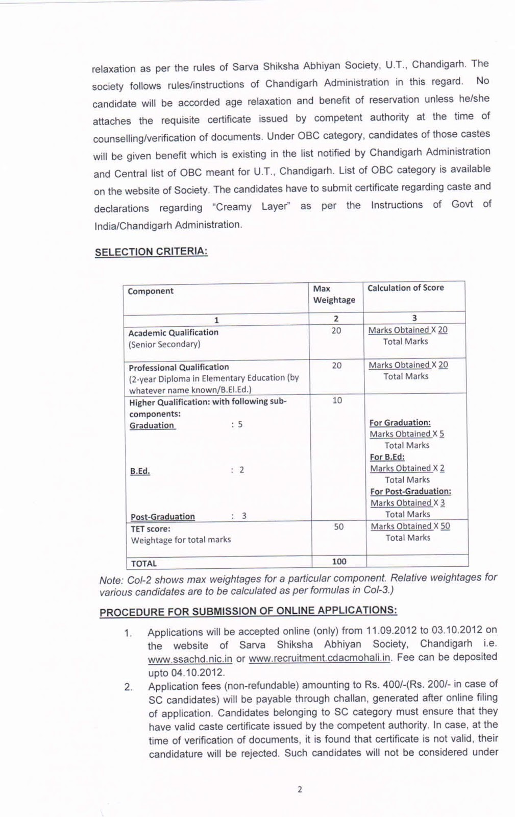 Recruitment for 654 posts of jbts on contract basis up to 31 03 2013 under sarva siksha abhiyan ssa chandigarh last date 03 10 2012