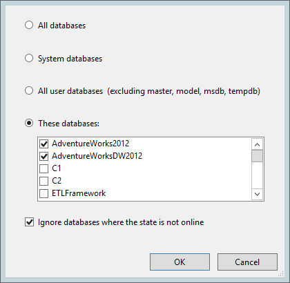 Check Database Integrity Task - select databases
