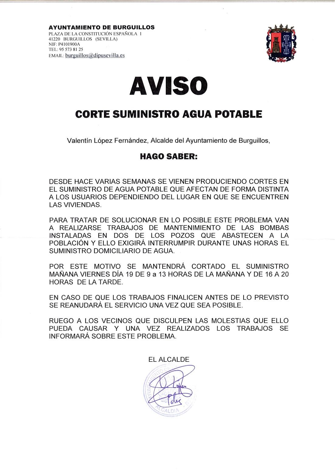 Asociación de Vecinos Nuevo Burguillos: Corte de suministro de agua ...