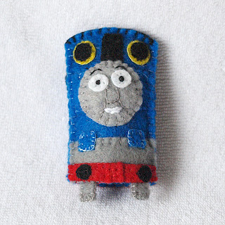 Thomas the Tank Engine felt finger puppet handmade by Joanne Rich for her friends daughter.