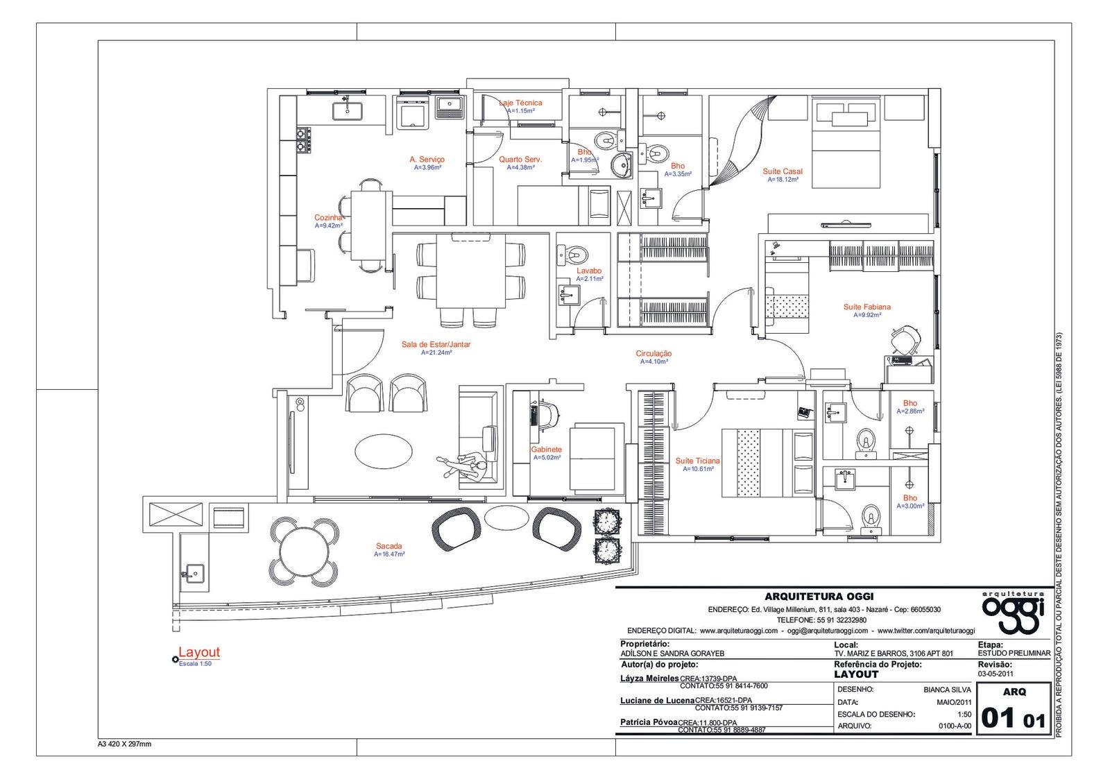 Oggi Arquitetura e Ambientação: Apartamento família Gorayeb #A64425 1600 1107