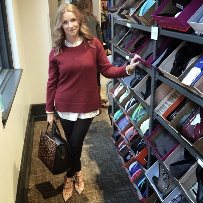 nordstrom rack preopening event, jcrew sweater, loft shirt, jcrew leather leggings, boden leopard bag, valentino rock stud heels