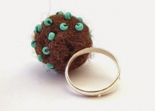 Felt Beaded Ring from Madame Bijoux