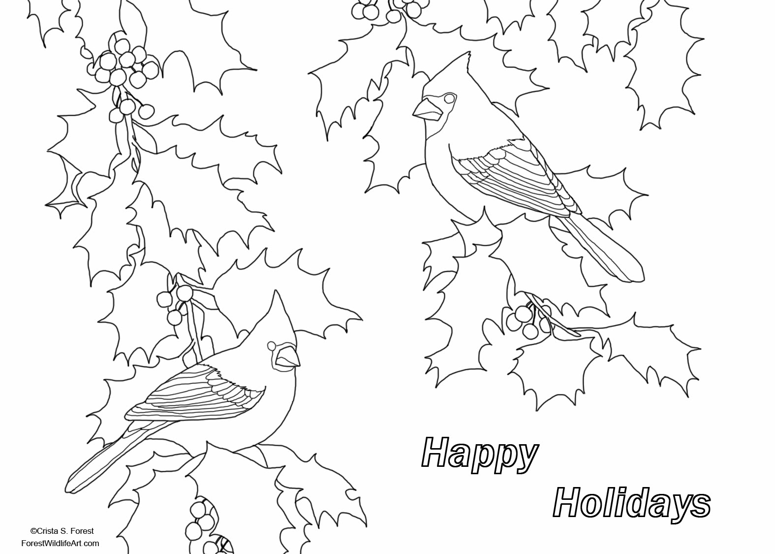 Forest Wildlife Art: Holiday Greeting Coloring Page for Children