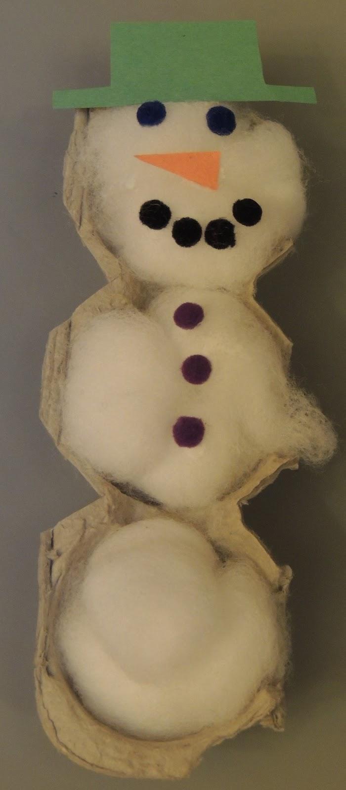 Child care basics resource blog egg carton snowman for Egg carton christmas crafts