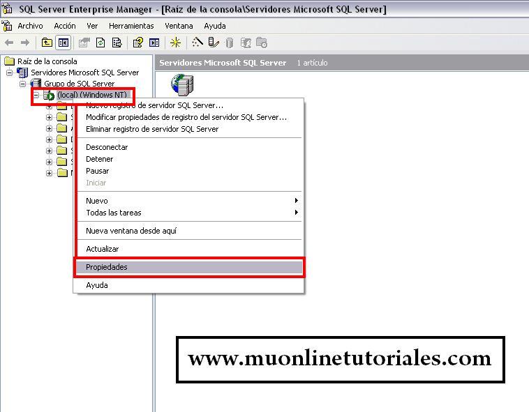 Propiedades en SQL server